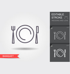 plate fork and knife line icon with shadow and vector image