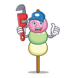 Plumber dango mascot cartoon style vector