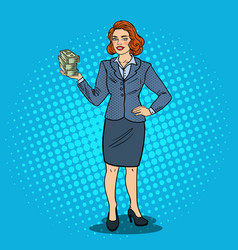pop art happy business woman with stack of money vector image