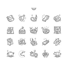 Pork well-crafted pixel perfect thin line vector