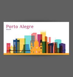 porto alegre city architecture silhouette vector image