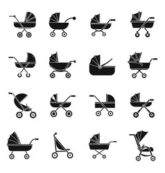 pram stroller carriage icons set simple style vector image