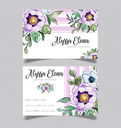 purple floral visiting card vector image