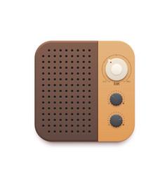 Retro fm radio music app old radio station button vector
