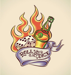 roll dice - tattoo design vector image