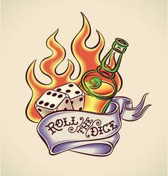 Roll dice - tattoo design vector