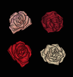 Roses embroidery on black background vector