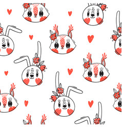 Seamless pattern with faces bunny and squirrel vector