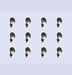 set emotional stickers head anime manga girl vector image