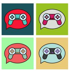 Set icon social media e-mail game joystick vector