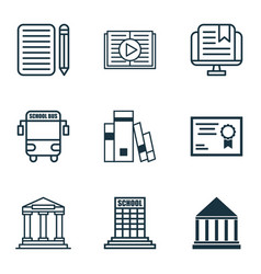 set of 9 education icons includes college home vector image