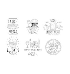 set of hand drawn black and white emblems vector image