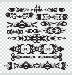 set of tribal tattoos elements in black color for vector image vector image