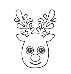 Silhouette cute face reindeer animal vector