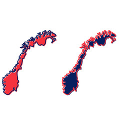 Simplified map norway outline fill and stroke vector