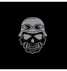 skull in helmet biker theme design template vector image