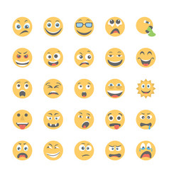 Smiley flat icons set 4 vector