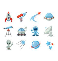 Space cartoon icons spaceship rocket astronaut vector