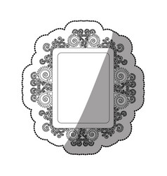sticker monochrome square vintage baroque frame vector image