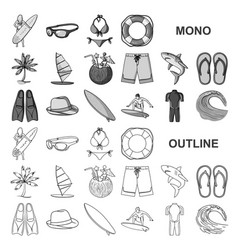 surfing and extreme monochrom icons in set vector image
