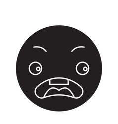 surprised emoji black concept icon vector image