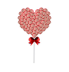 sweet candy heart on stick with twisted pattern vector image