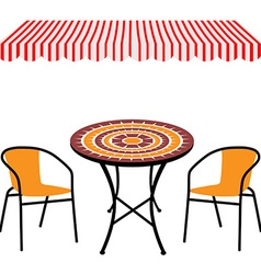 Table chairs and awning vector image