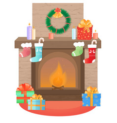 The fireplace is decorated for christmas new vector