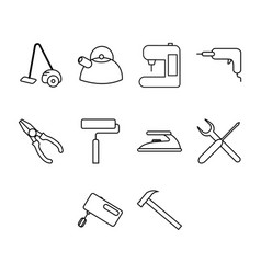 Thin line utility icon set vector
