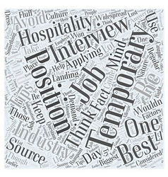 Tips On Landing Temporary Hospitality Jobs Word vector