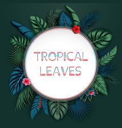 tropical leaves background with round frame vector image