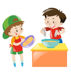 Two boys cooking and baking vector