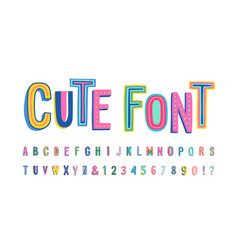Uppercase cute alphabet font letters numbers and vector