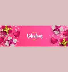 valentines day 3d pink love layout web banner vector image