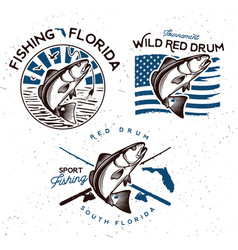 Vintage red drum fish emblems sciaenops ocellatus vector