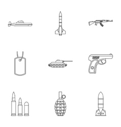 War icons set outline style vector