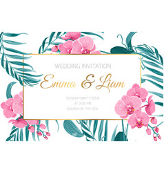 Wedding invitation card frame orchid flower leaves vector