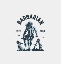 wild warrior barbarian vector image