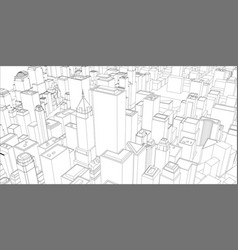 Wire-frame new york city blueprint style vector