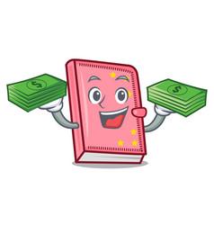 With money diary mascot cartoon style vector