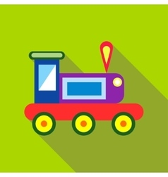Children s toy train on a bright green background vector image