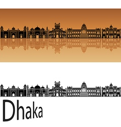 Dhaka skyline in orange vector image