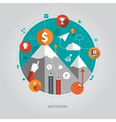 flat design business with motivatio vector image vector image