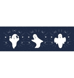 Funny ghosts flying in the night sky Halloween vector image vector image