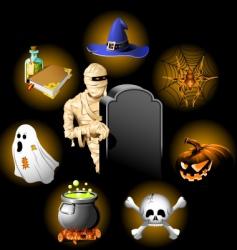 halloween icons set vector image vector image
