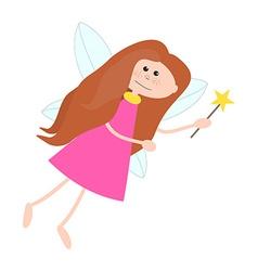 Little Cute Fairy Girl with Long Hair vector image