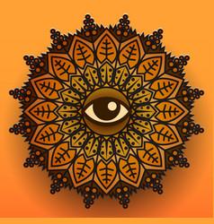 mandala symbol on orange background vector image vector image