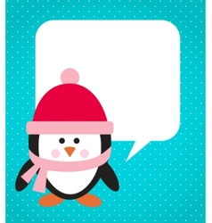 penguin with hat and scarf vector image vector image
