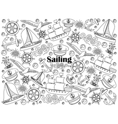 Sailing colorless set vector image vector image