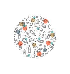 alcoholic circle concept - bottles icons on white vector image vector image